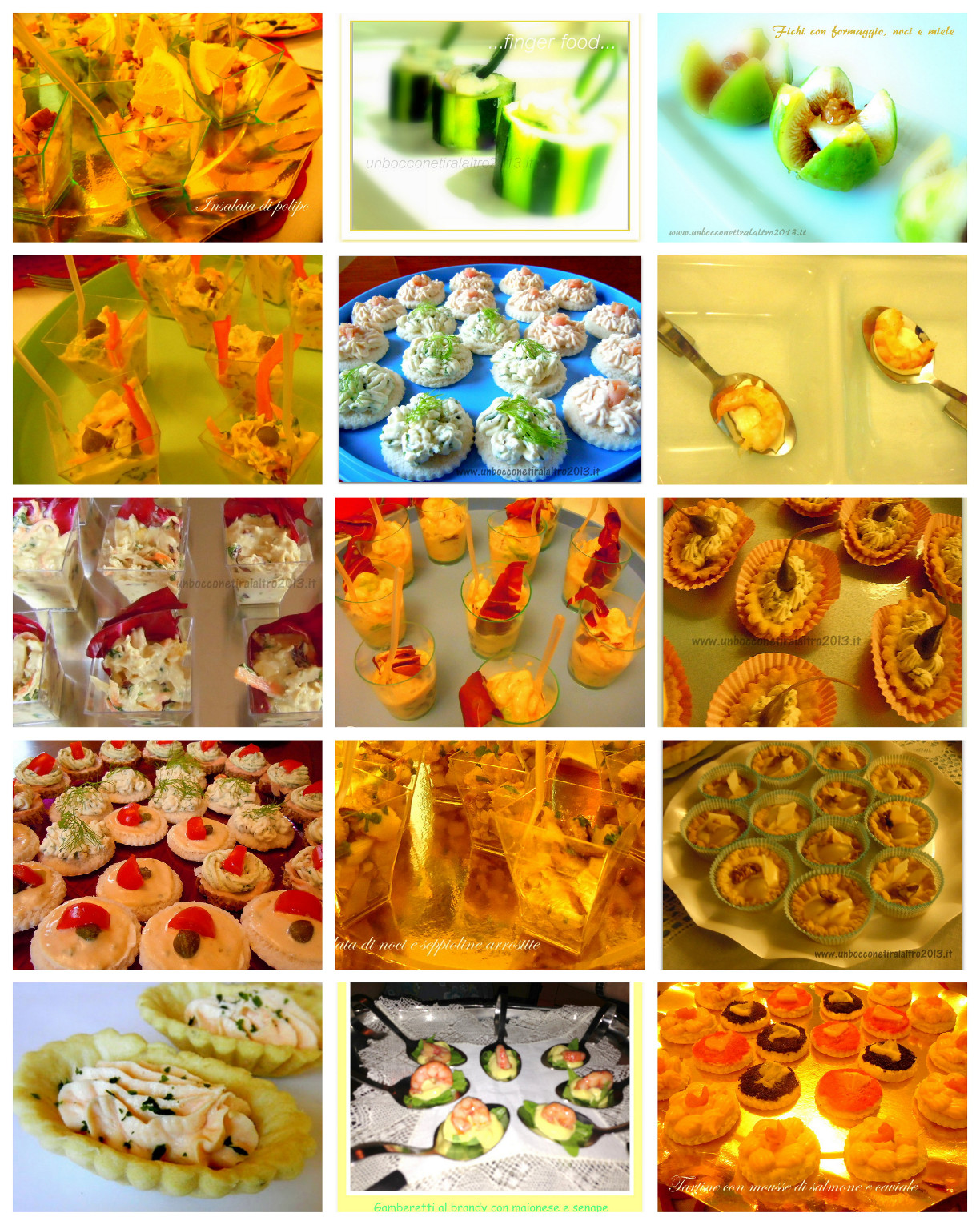 Aperitivi e finger food collage