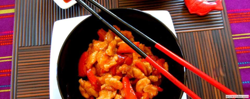 Bocconcini di maiale in salsa agrodolce con riso basmati